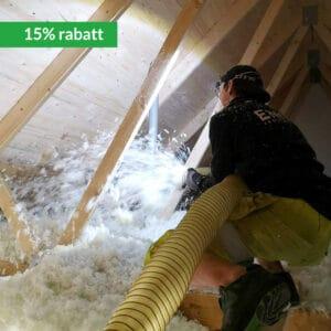 15% rabatt på isoleringskostnaden vid tilläggsisolering av vinden